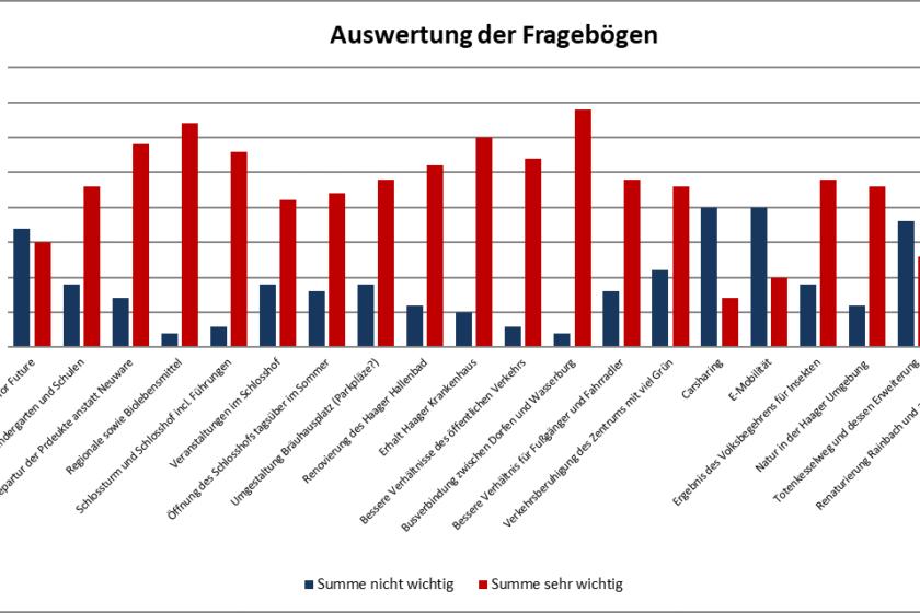 Grafik: Auswertung Fragebögen